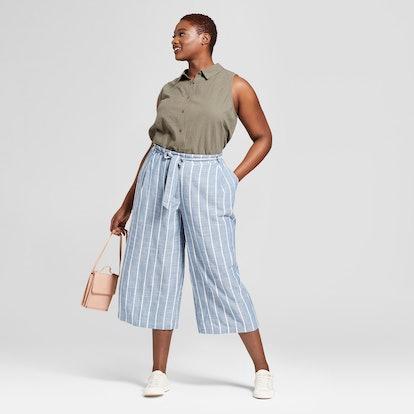 Women's Plus Size Striped Chambray Pants, Universal Thread Blue