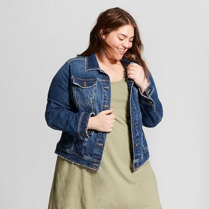 Women's Plus Size Freeborn Denim Jacket, Universal Thread Medium Wash