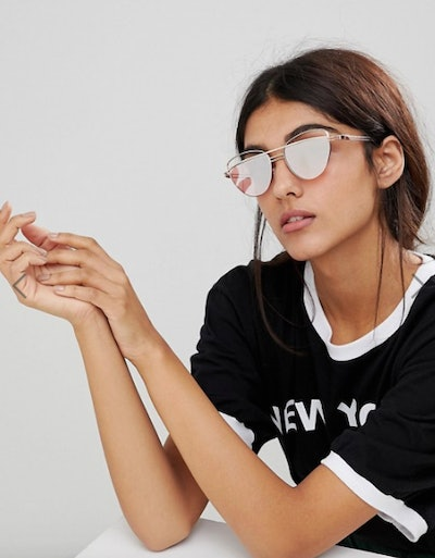 ASOS Cat Eye Sunglasses With Wire Highbrow And Double Nose Bridge In Rose Gold