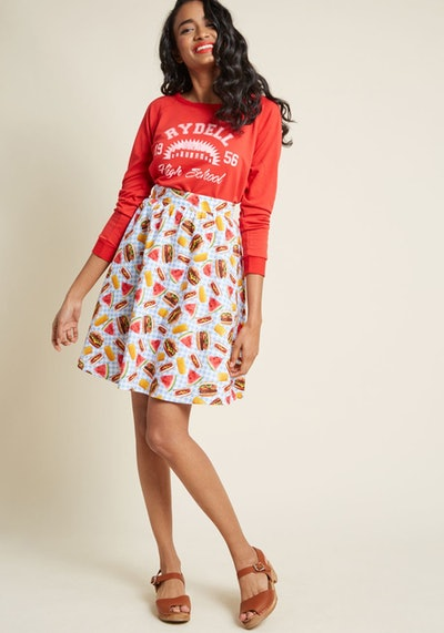 Lively Vibe Cotton A-Line Skirt in Picnic