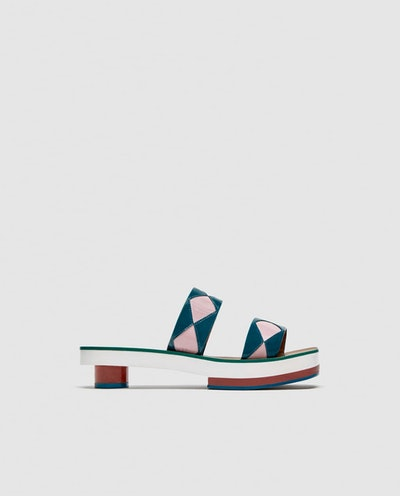 Leather Slides With Geometric Details