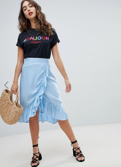 New Look Ruffle Wrap Midi Skirt