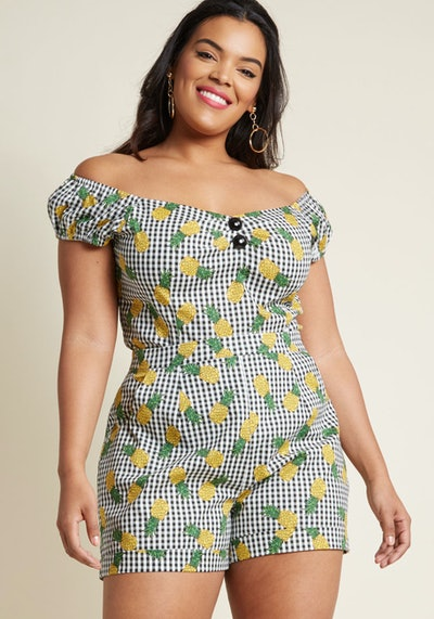 Collectif x MC Charming Chat High-Waisted Shorts in Pineapple