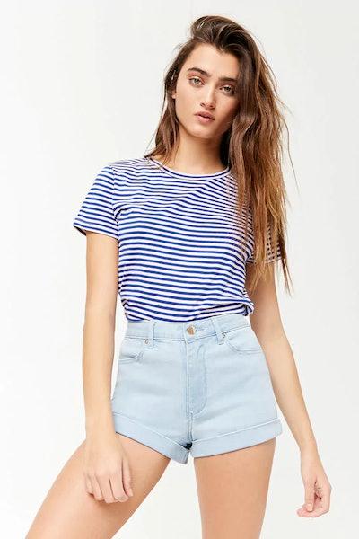 High-Waist Cuffed Denim Shorts