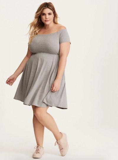 Grey Jersey Off Shoulder Skater Dress