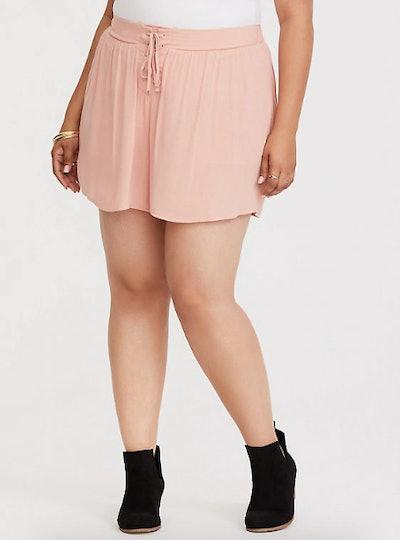 Torrid Peach Lace-Up Crepe Short