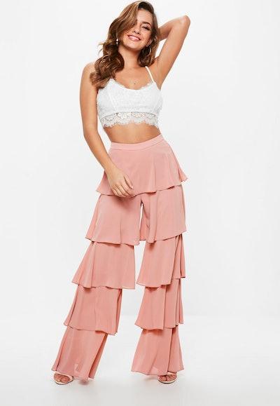 Pink Chiffon Tiered Frill Wide Leg Trousers