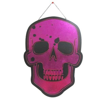 Halloween Lit Skull Hanging Sign