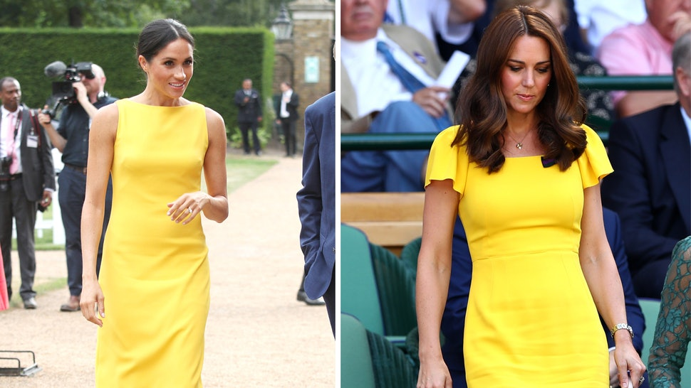 8983bf9d8094 Meghan Markle   Kate Middleton s Yellow Dresses Have Made This Bold Look  Fashionable AF
