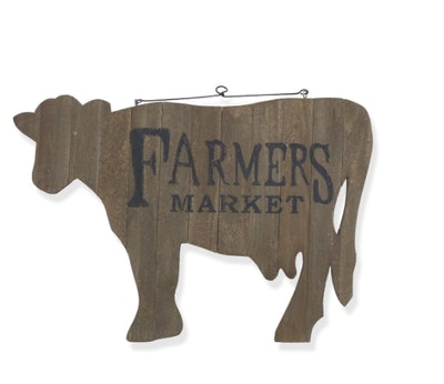 Wooden Cow Wall Décor Accent