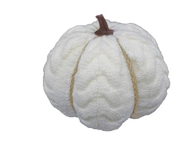 Harvest 5'' Cable Knit Pumpkin White
