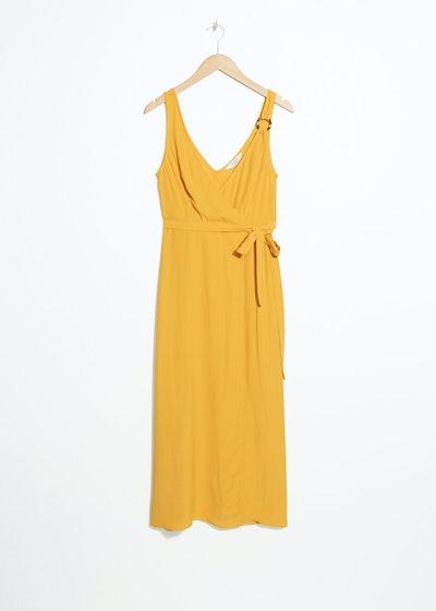 Tortoise O-Ring Wrap Midi Dress