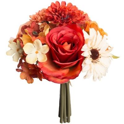 Orange and Rust Rose, Mum and Hydrangea Stem Bundle