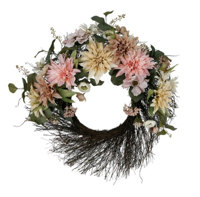 Cream & Pink Floral Wall Wreath