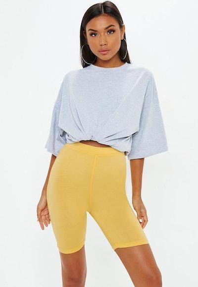 Yellow Cotton Cycling Shorts