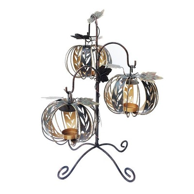 Metal Tree with Hanging Pumpkin Candle Holders