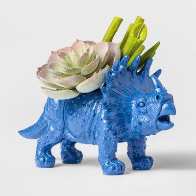 Faux Succulent in Blue Dinosaur Pot