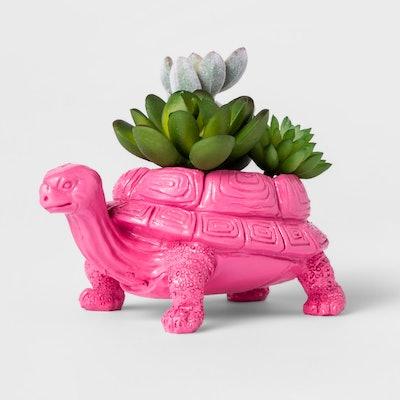 Faux Succulent in Pink Dinosaur Pot