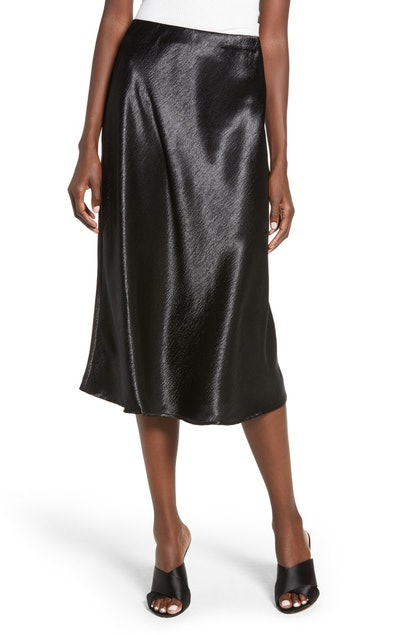 LOVE, FIRE Satin Midi Skirt