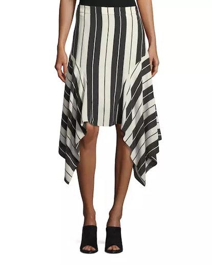 Joie Esha Striped Silk Midi Skirt