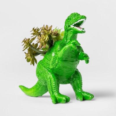 Faux Succulent in Green Dinosaur Pot