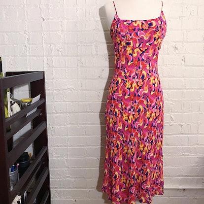 90s Vintage Pink Spaghetti Strap Dress