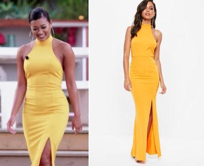 Yellow Choker Halterneck Low Back Maxi Dress