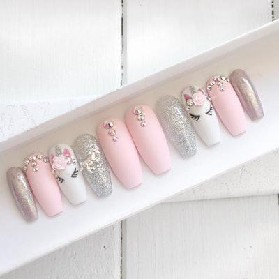 Pink Unicorn Press On False Nails