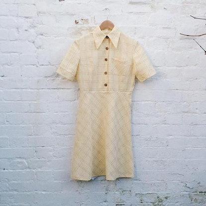 Preppy Vintage 60s/70s Cream Retro Dress