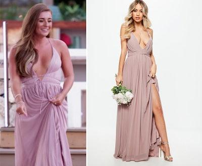 Bridesmaid Pink Pleated Mesh Maxi Dress