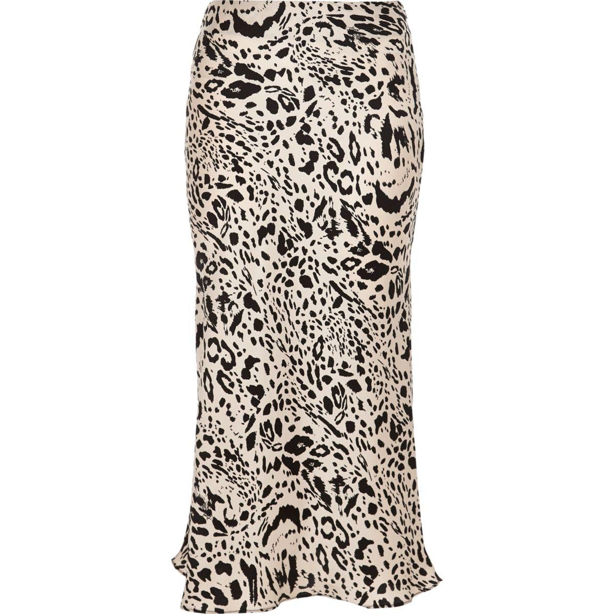 Black leopard print satin midi skirt