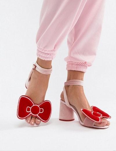 Hello Kitty x ASOS DESIGN Velvet Bow Heeled Sandal