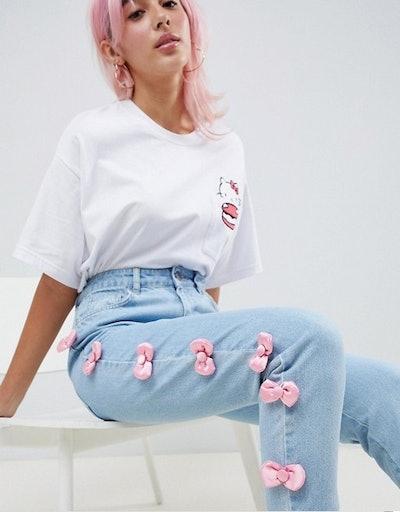 Hello Kitty x ASOS DESIGN Jeans With Satin Bow Detail