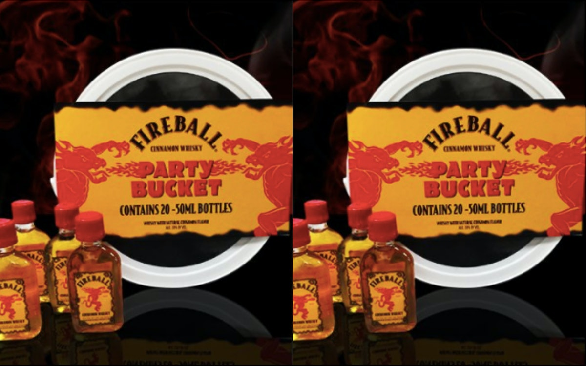 Fireball Party Buckets Exist & There Are 20 Mini Bottles In Each Of Them