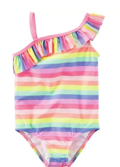 Carter's Rainbow Striped Asymmetrical One-Piece Swimsuit