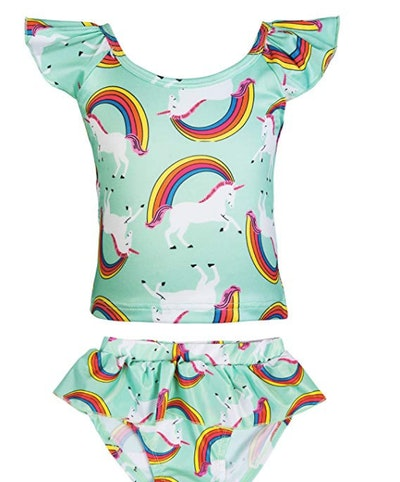 KABETY Girls Rainbow Unicorn Swimsuit