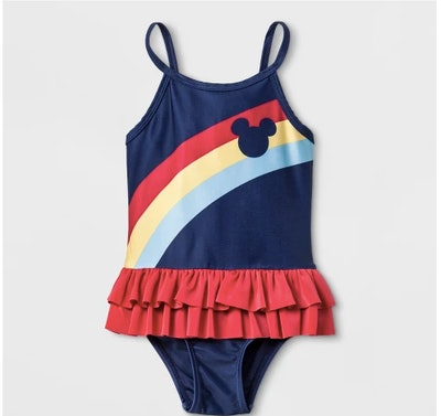 Junk Food Toddler Girls' Disney Mickey Mouse Rainbow One Piece Swimsuit