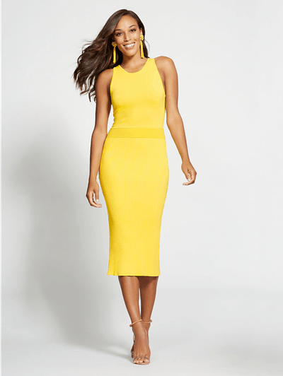Gabrielle Union Collection Yellow Halter Sweater Dress