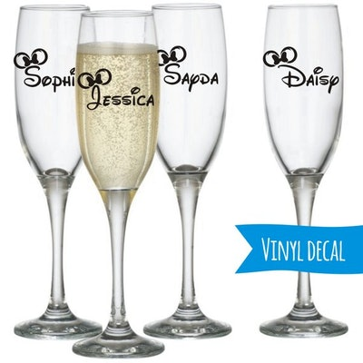 Minnie Mouse Custom Name Champagne Flute DIY Decal
