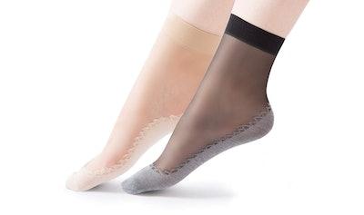 HaloVa Women's Silk Stockings With Ultra-Thin Cotton Sole