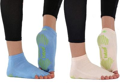 FITLEAF Bamboo Toeless Grip Socks