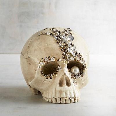 Bejewelled Skull Halloween Decor