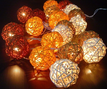 Storm Autumn Browns Rattan Cane Battery-Powered LED Light String