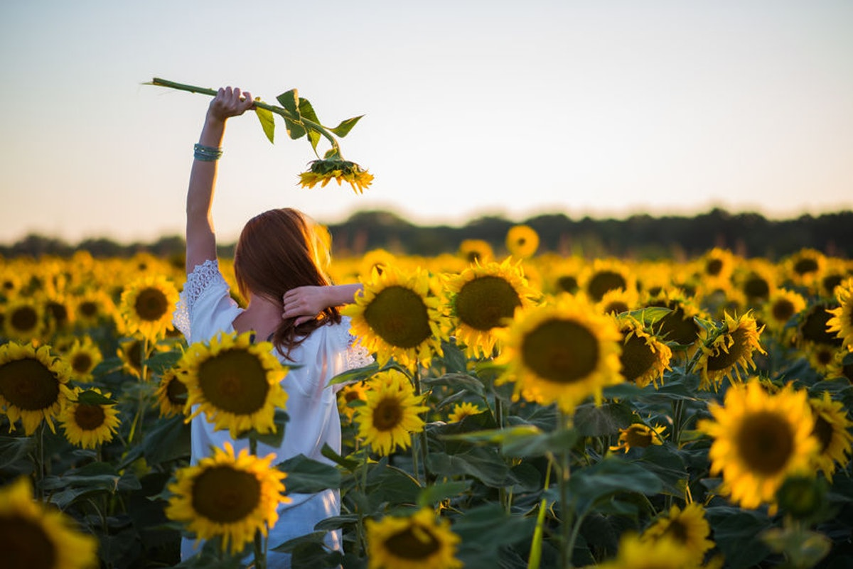 Young woman dancing in a field of sunflowers before posting a pic on Instagram with flower captions.