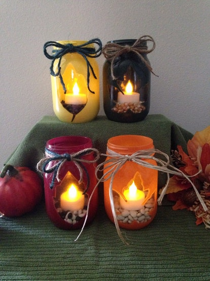 Fall Leaves Flickering Tea Lights