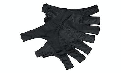 Cotton Whisper Women's Cotton Thongs, Black