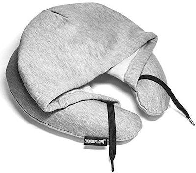 HoodiePillow Brands Inflatable Travel Hoodie Pillow-Gray