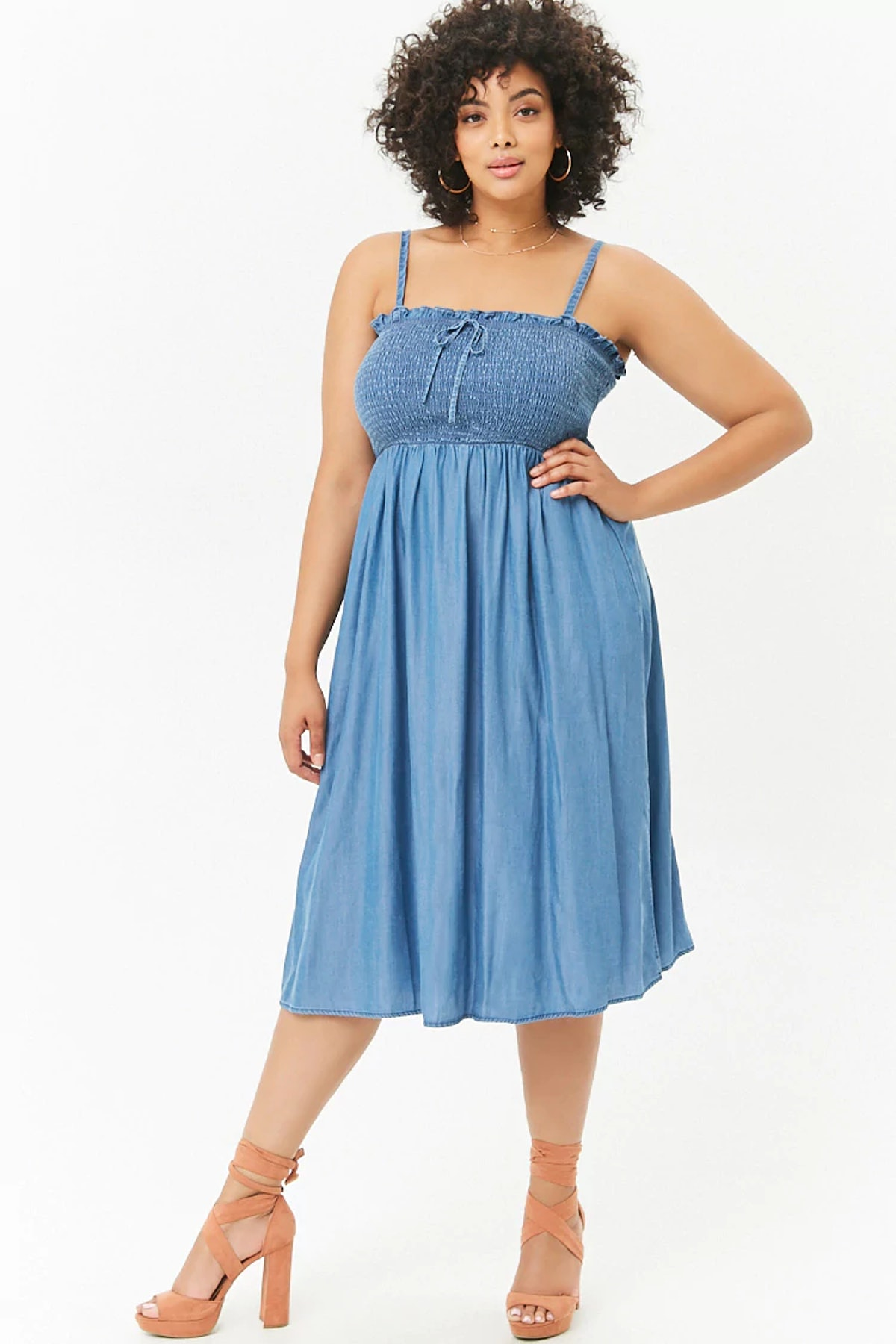 Plus Size Chambray Cami Dress
