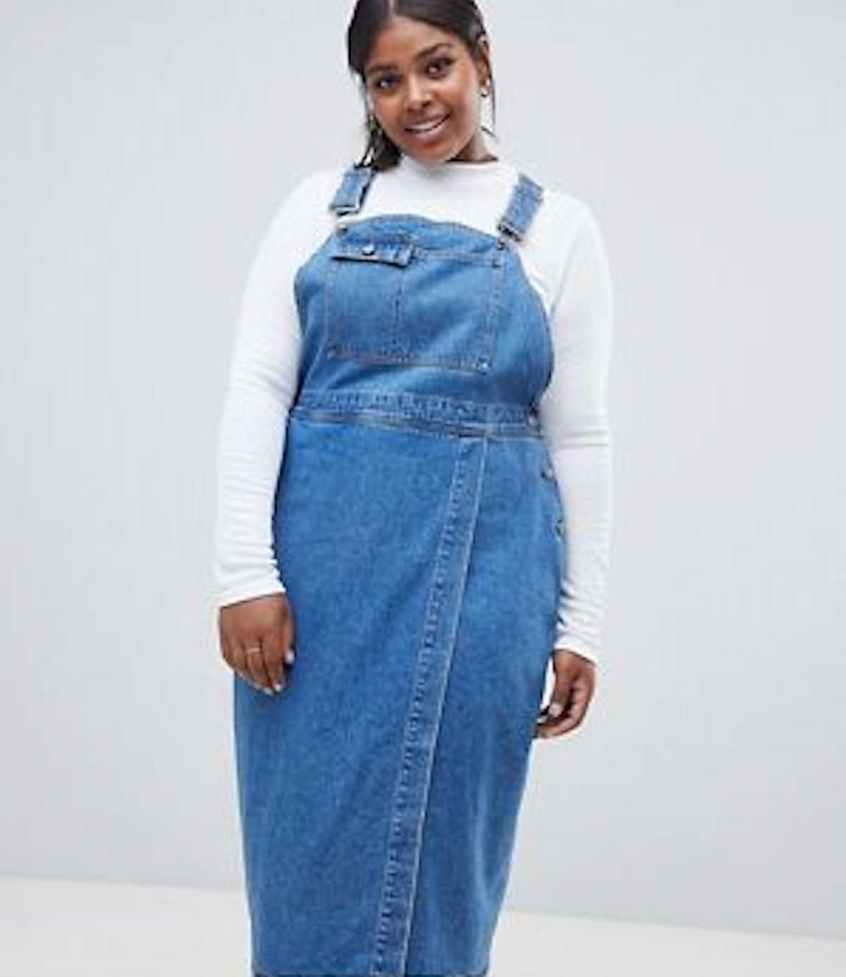 ASOS DESIGN Curve Denim Midi Overall Dress In Midwash Blue