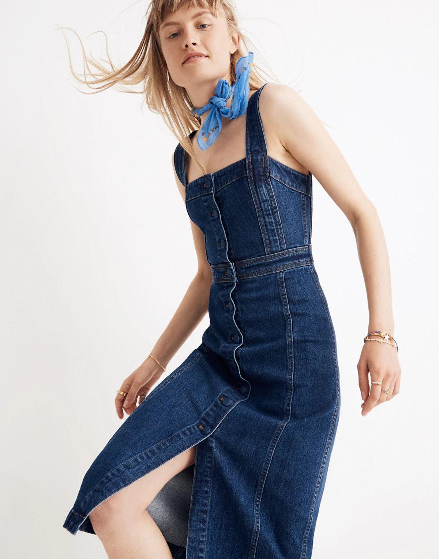 Denim Covered-Button Dress